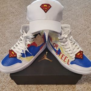 Superman Custom Air Jordan 1 Mid w/Hat